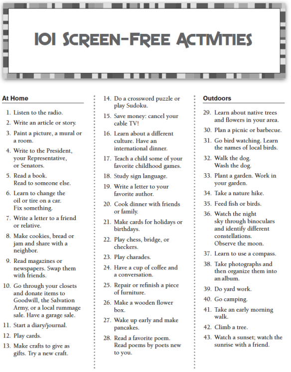 101 Screen-Free Activities, Part 1