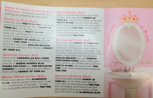 "Princess bathroom: ""Relax in rooms as pretty as a princess. Surround yourself in a setting as cheerful as her smile."""