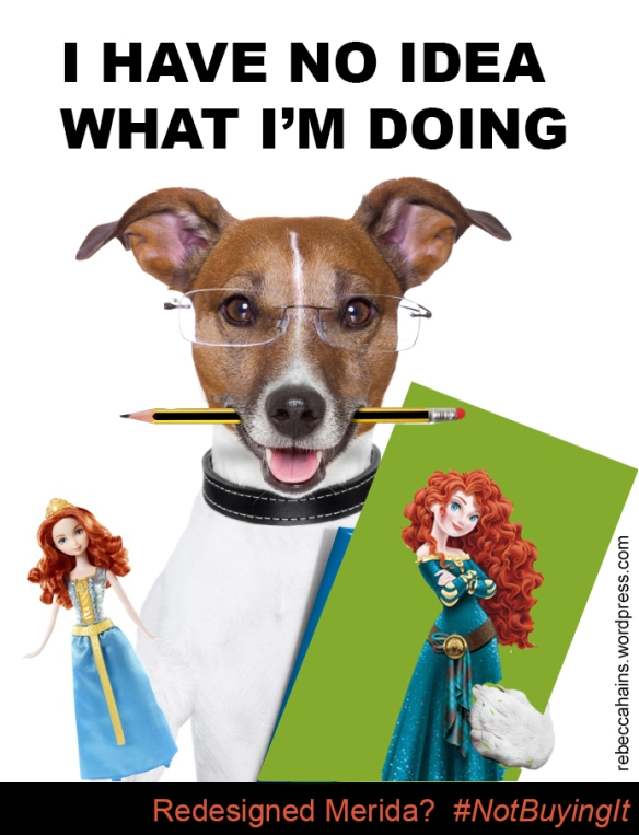 "Dog holding a pencil and redesigned Merida admits: ""I have no idea what I'm doing"""
