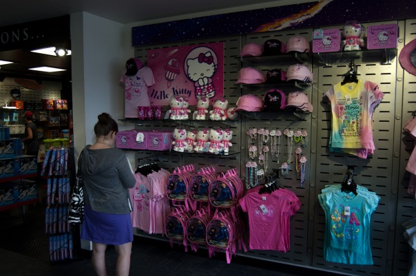 An entire wall of Hello Kitty merch at the Kennedy Space Center Visitor's Complex. Photo by Kyle Barger - @kebarger