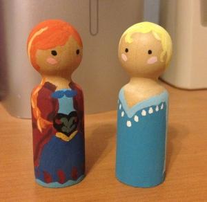 Rebecca's Frozen-style peg dolls, front