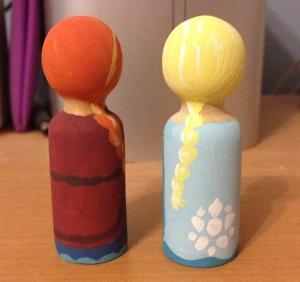 Rebecca's Frozen-style peg dolls, back