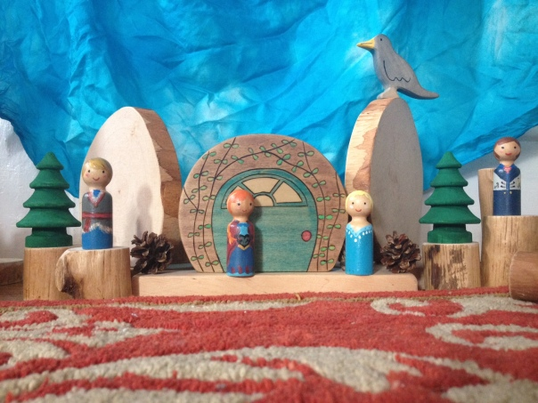 Rebecca's Frozen-style peg dolls at play