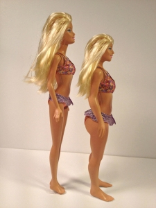 Barbie vs a Lammily prototype, using dimensions from an average 19-year-old girl